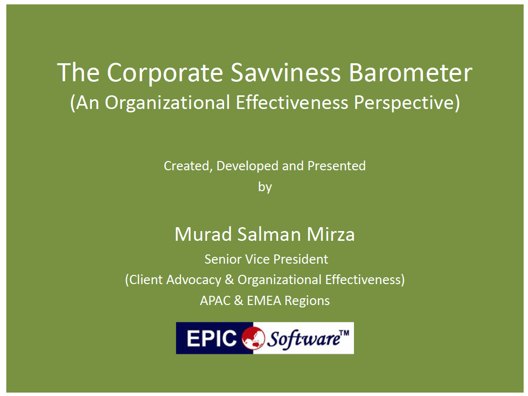 The Corporate Savviness Barometer, An Organizational Effectiveness Perspective