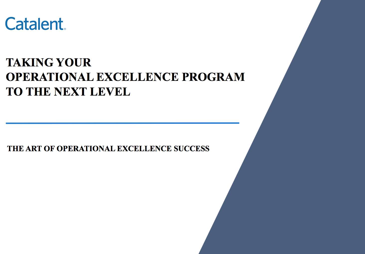 Taking your Operational Excellence Program to the Next Level