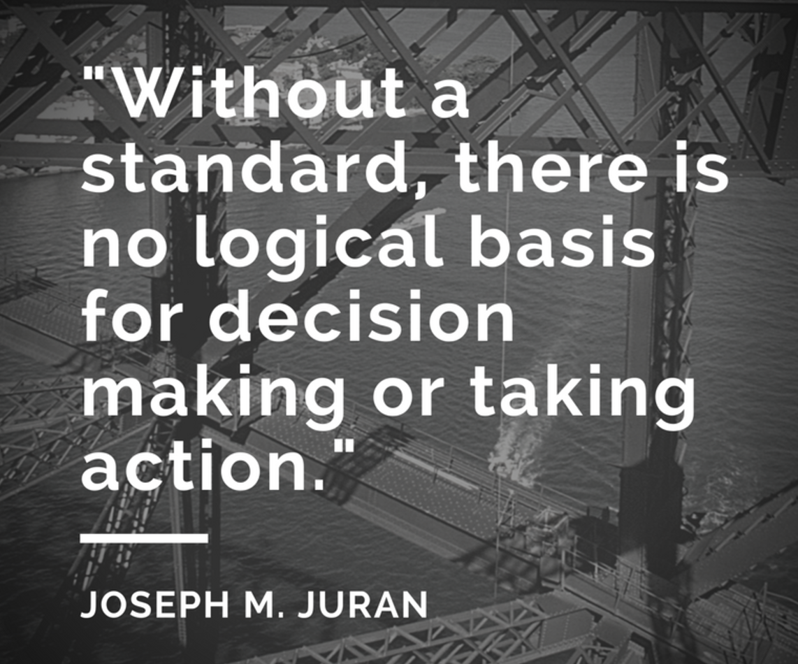 """Without a Standard, there is no logical basis for decision making or taking action""- Best Lean SIx Sigma Quotes"